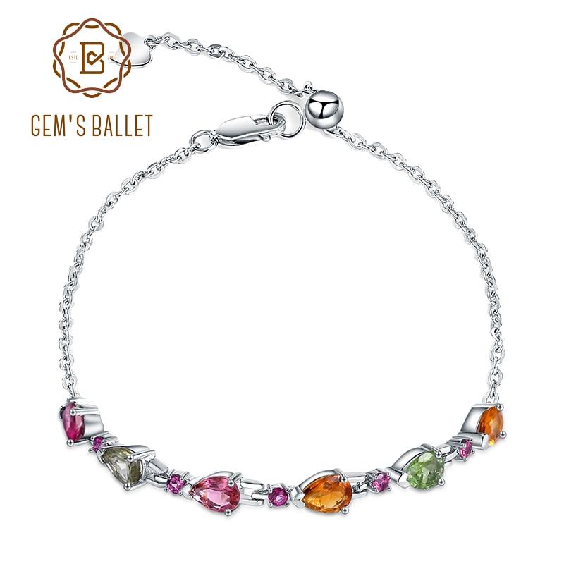 GEMS BALLET 3.13Ct Natural cadena con turmalina enlace pulsera 925 plata esterlina gema pulsera ajustable para la boda de las mujeres