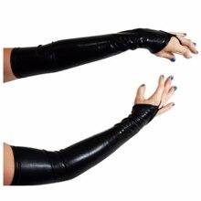 New 1 pair Glam Arm Warmer Goth Wet Look Shiny Metallic Fingerless Gloves Clubwear Costume, Black