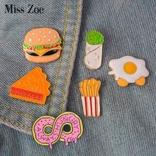 Bijoux de dessins animés pour enfants, badge hamburger broche en émail pour nourriture rapide, broche, Burrito Omelette Donut