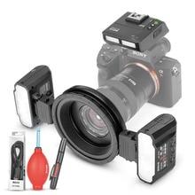 Meike MK-MT24 Macro double Lite Flash pour Sony A7, A7R, A7S, A7II, A7RII, A5000, A5100, A6000, A6300, A6500 appareils photo sans miroir