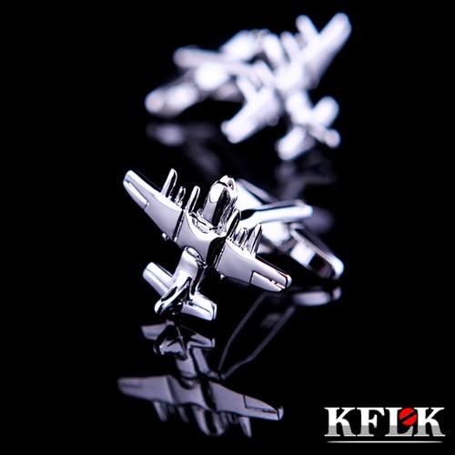 KFLK Luxury HOT shirt cufflink for mens Brand cuff button Silver cuff link High Quality Airplane shape abotoadura Jewelry