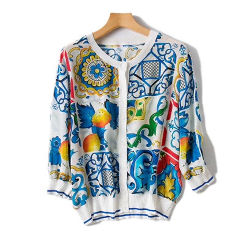 Pure silk empalmado moda mujer impreso camisa delgada Rebeca Camisetas cuello redondo multicolor M/L one & over size