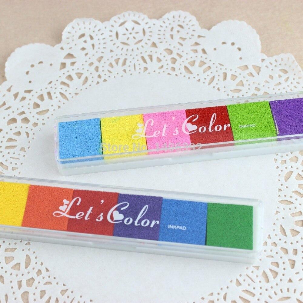 DIY 6 colores Inkpad largo arco iris sello almohadilla de tinta huellas dactilares coloridas caramelo tinta Scrapbooking sello Inkpad dedo pintura