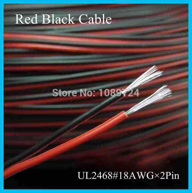 UL2468, 30 metros, 100 pies/lote, cobre estañado, 18AWG, 2 pines, cable rojo negro, cable aislante de PVC, cable eléctrico LED, conexión DIY