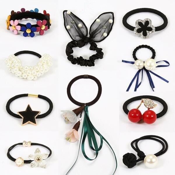 Moda coreana flor elástica para el pelo banda de goma para mujeres lazos para niñas anillo de pelo accesorios de cuerda para mujeres scrunchie tocado