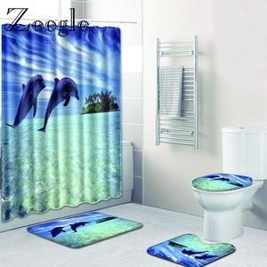 Zeegle Dolphin Pattern Bath Mat for Bathroom with Shower Curtain 4PCS Toilet Lid Cover Bathroom Floor Mats Microfiber Toilet Rug