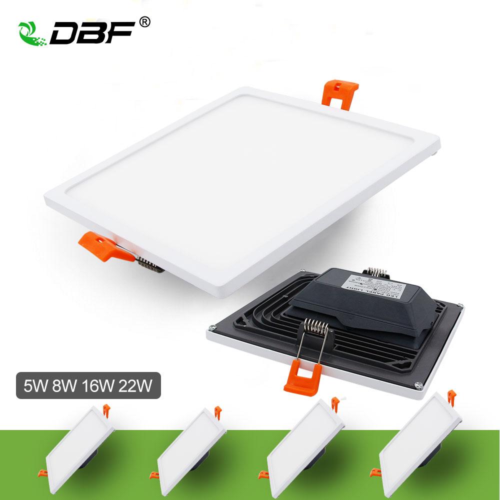 [Dbf] ultra fino quadrado led painel downlight com AC85-265V build-in led driver 5w 8w 16 22w 4014smd teto recesso painel de luz