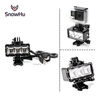 snowhu for gopro accessories 30m led underwater waterproof light mount kit for go pro hero 9 8 7 6 5 yi 4k sport cameras gp258