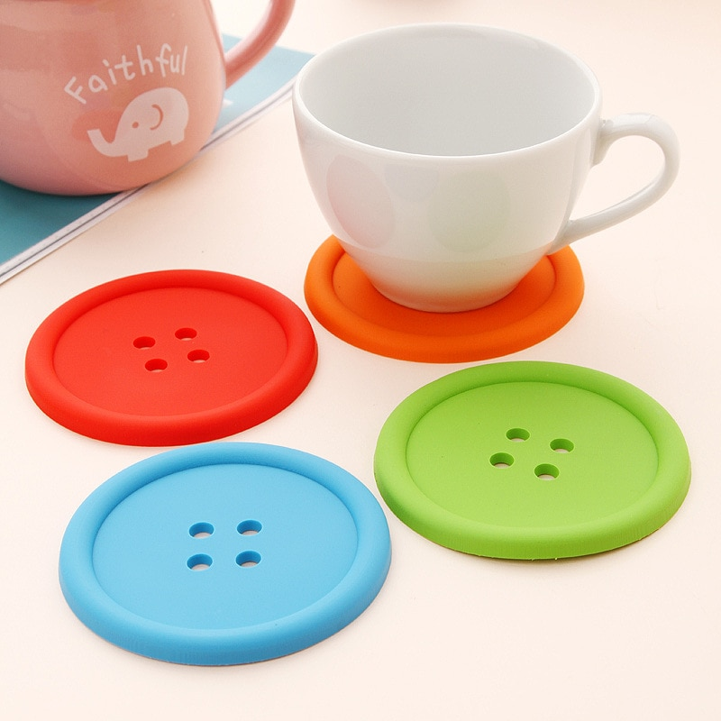1 ud. Tapetes de silicona redondos con forma de botón, manteles individuales aislantes antideslizantes, tapete para taza de comedor, mesa de café, utensilios de cocina resistentes al calor