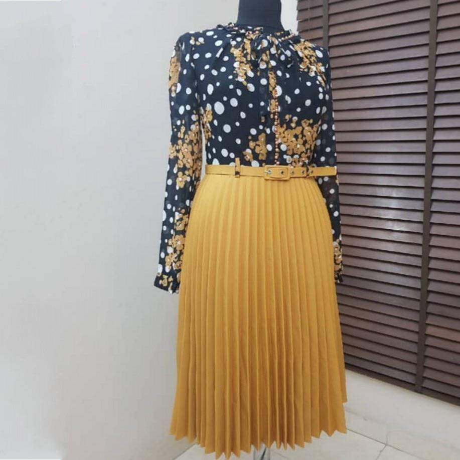 Spring Autumn Chiffon Print Dress Casual Cute Women Floral Long Bowknot Dresses Long Sleeve Vestido L-3XL Plus Size