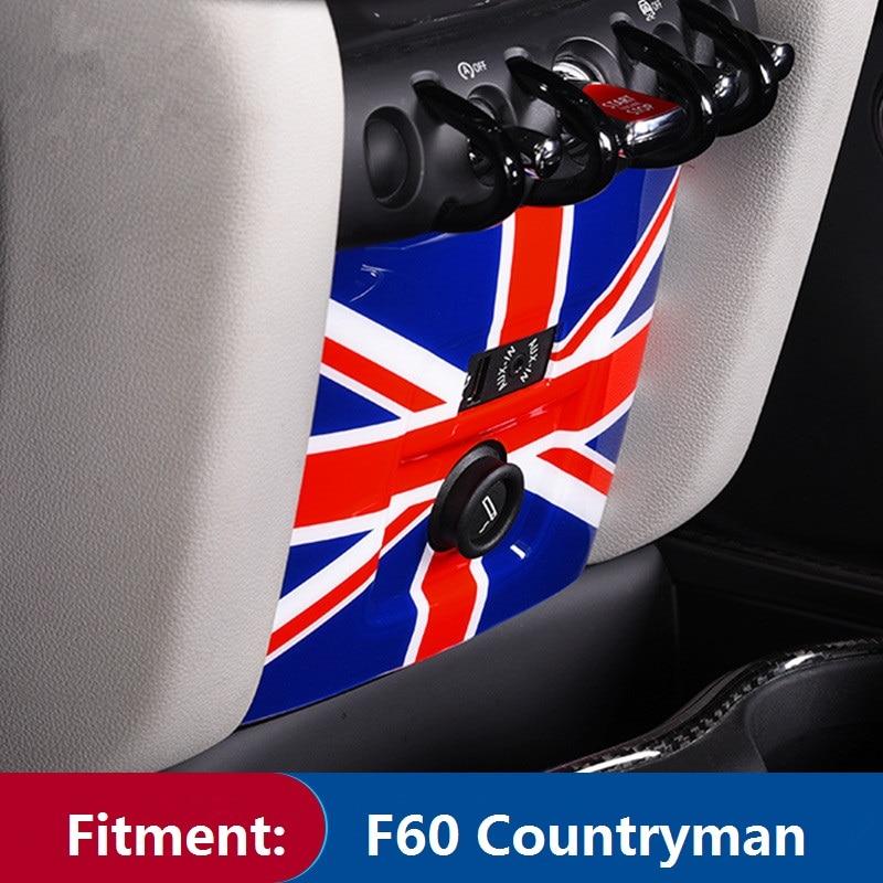 ABS encendedor de cigarrillos para coche USB AUX consola Marco de panel cubierta pegatina para Mini Cooper Countryman F60 Union Jack diseño interior