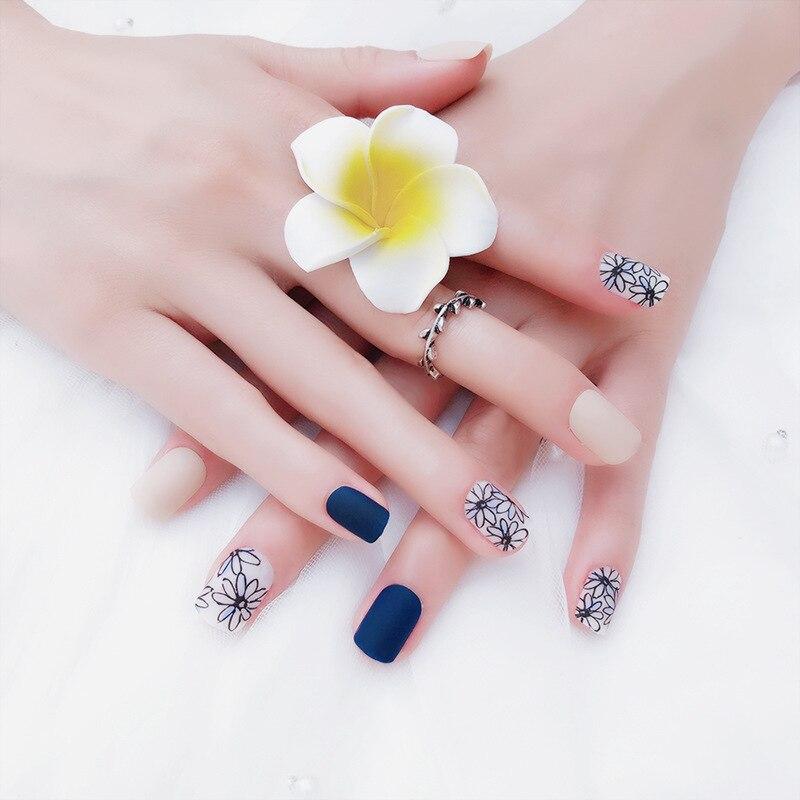 24 pcs simples moda falso ongles com cola padrao de flor azul fosco plastico unhas