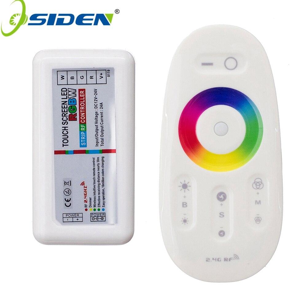 Osiden controle remoto 2.4g rgb rgbw, tela sensível ao toque DC12-24V controle remoto rf para rgb led
