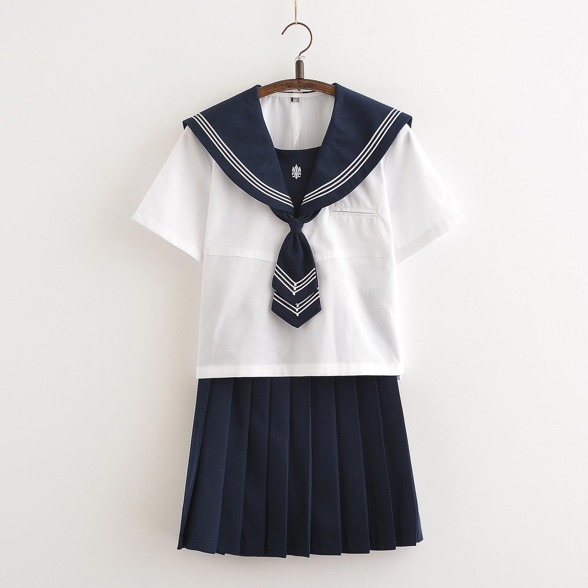 Marinero japonés uniforme para estudiantes mujeres de clase uniforme JK conjuntos uniforme de la escuela