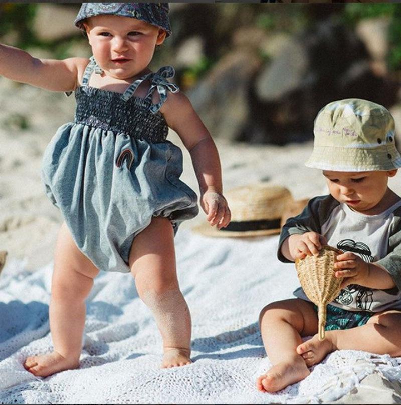 3-24 meses niño mono bebé niña Suspender pantalón infantil Newbron mono lindo patrón de Jumpersuit con Bowknot verano traje