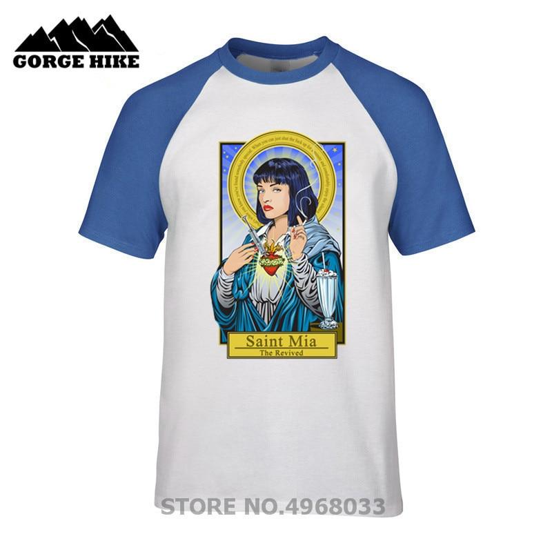Verano descuentos Comic Saint Mia The Revived pulp fiction camiseta hombres camiseta homme manga corta cuello redondo Camiseta barato 100% de algodón
