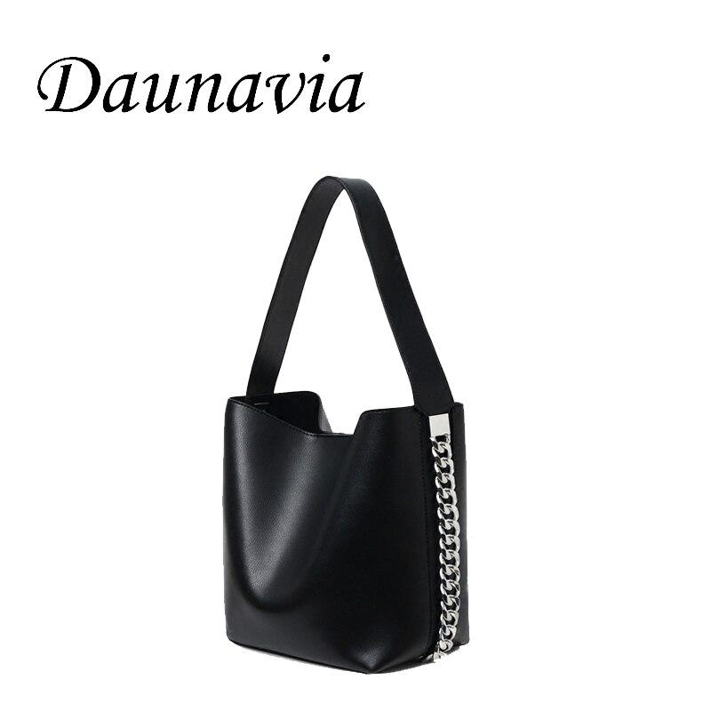 Bolsos de cubo de cadena DAUNAVIA para mujer, bolsos de hombro con correa ancha, bolso de mensajero para mujer, bolsos de marca de diseñador de lujo de cuero PU