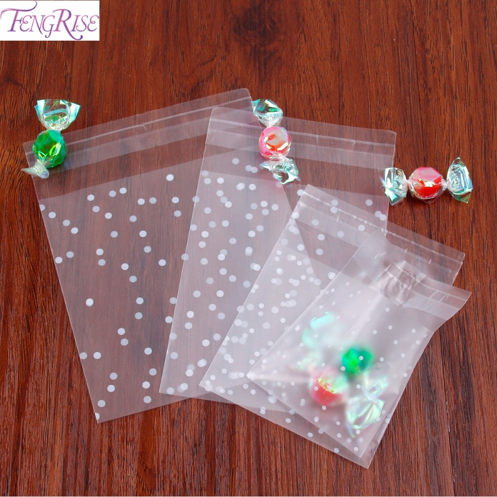 FENGRISE 100PCS Transparent Cellophane Polka Dot Candy Bags Frosted OPP Cookie Bag Birthday Wedding Gift Bag Wrapping Supplies