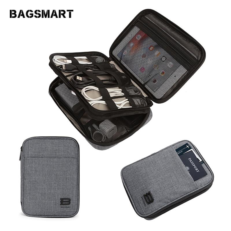 Mochila de accesorios electrónicos BAGSMART de doble capa para viaje, bolsa de almacenamiento portátil, accesorios, organizador para Cable, cargador Kindle iPad