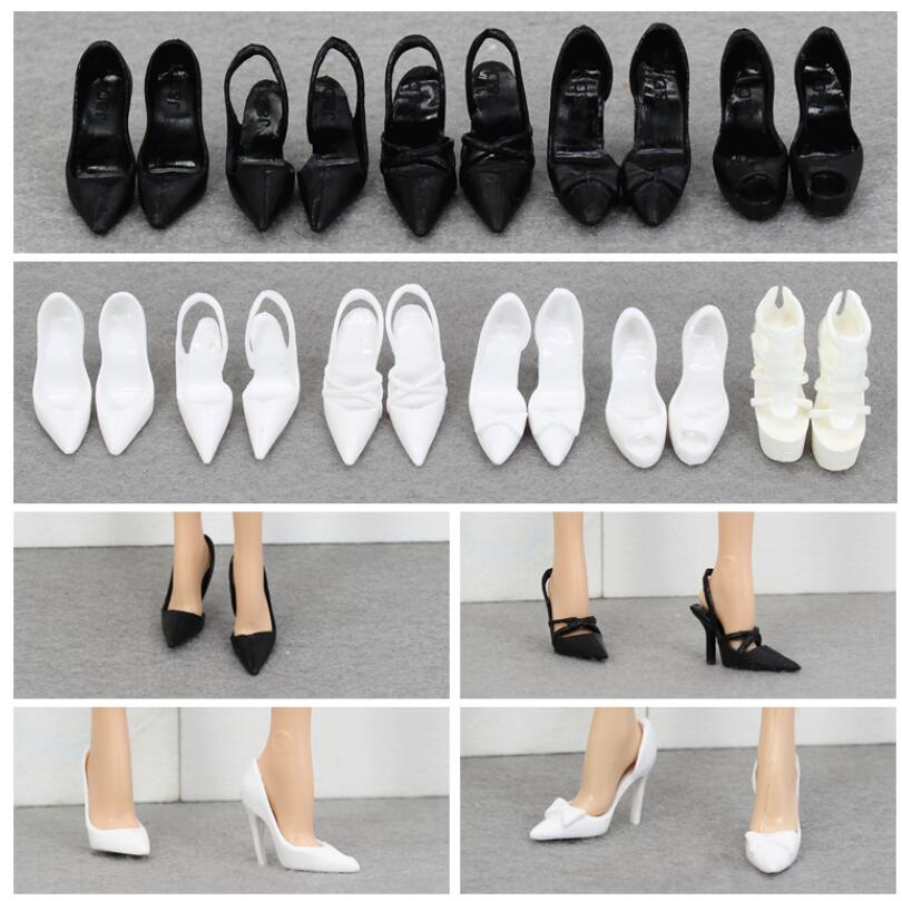 Zapatos de muñeca, zapatos bonitos blancos y negros de moda, zapatos de tacón alto para colección de muñecas BB BBI988