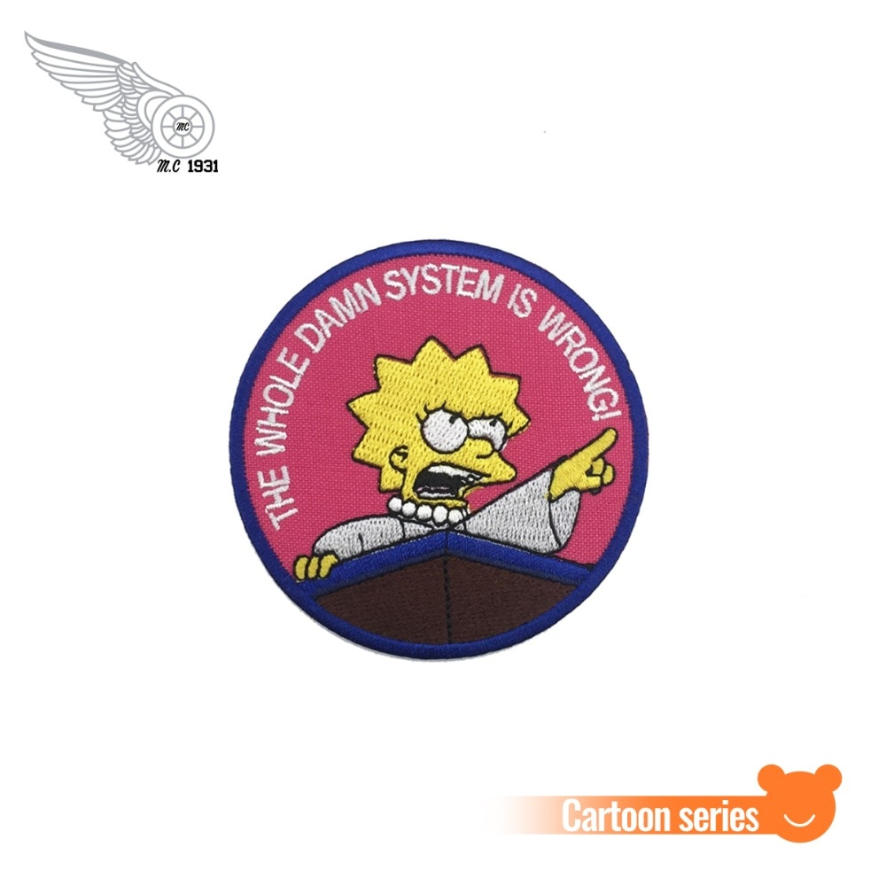 Вся чёртова система неверна! Лиза симп сыновья вышивка патч значок Железный на темно-розовые патчи для одежды мультфильм наклейки