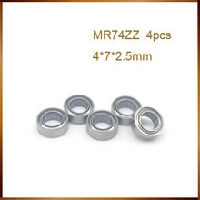 Abec 4 Uds alta calidad ABEC MR74ZZ MR74Z MR74 ZZ L-740ZZ 4x7x2,5mm 4*7*2,5mm Escudo de metal en miniatura rodamientos de bolas de ranura profunda