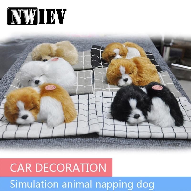 NWIEV 1X Car Ornaments Plush Simulation Sleeping Dog For Chevrolet Cruze Lacetti Aveo Ford Focus 3 Fiesta Kuga Ranger Seat Leon