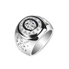 Bijoux en cristal de luxe Couple fiançailles bagues de mariage pour femmes hommes Anel Aliancas Plata anneau de doigt bijoux Casamento 15R1496