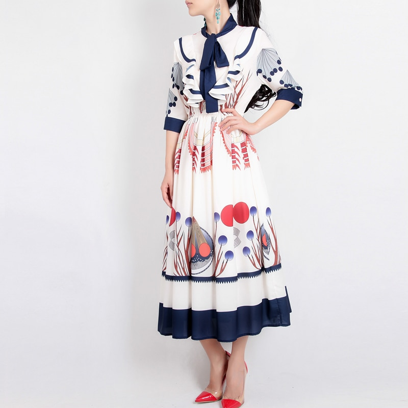 HAMALIEL High Quality Women Designer Runway Dress 2019 Summer Chiffon Printed Ruffles Bow Collar Female Elastic Waist Midi Dress
