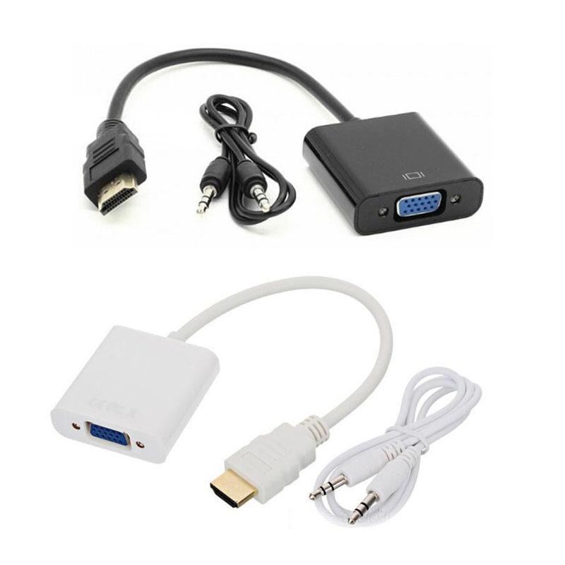 Compatible con HDMI macho a VGA hembra 1080P Monitor convertidor adaptador con...