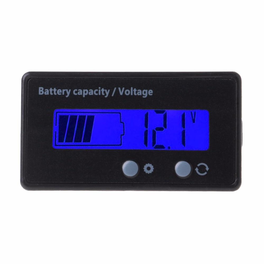 8-70V Blue LCD Acid Lead Lithium Battery Capacity Indicator Voltmeter Gauge 2in1 Tester Tools