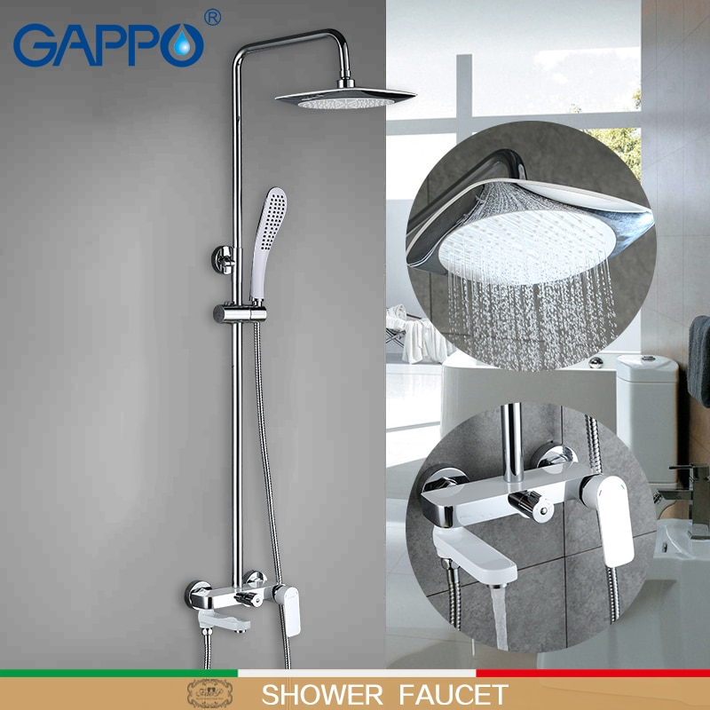 GAPPO-حنفيات دش مثبتة على الحائط ، مجموعة صنبور دش نحاسية بيضاء