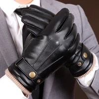 pu leather gloves male autumn winter plus velvet thicken keep warm driving windproof synthetic leather man gloves pm008pc