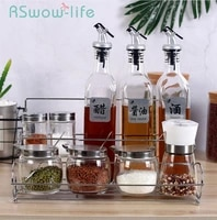 10pcs kitchen supplies spice storage glass cruet set suit seasoning cans rack spice rack spice jar for kitchen gadgets