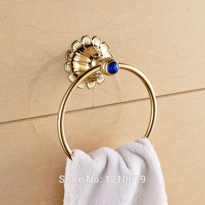 Новый роскошный золотой полированный держатель для полотенец ванной комнаты с