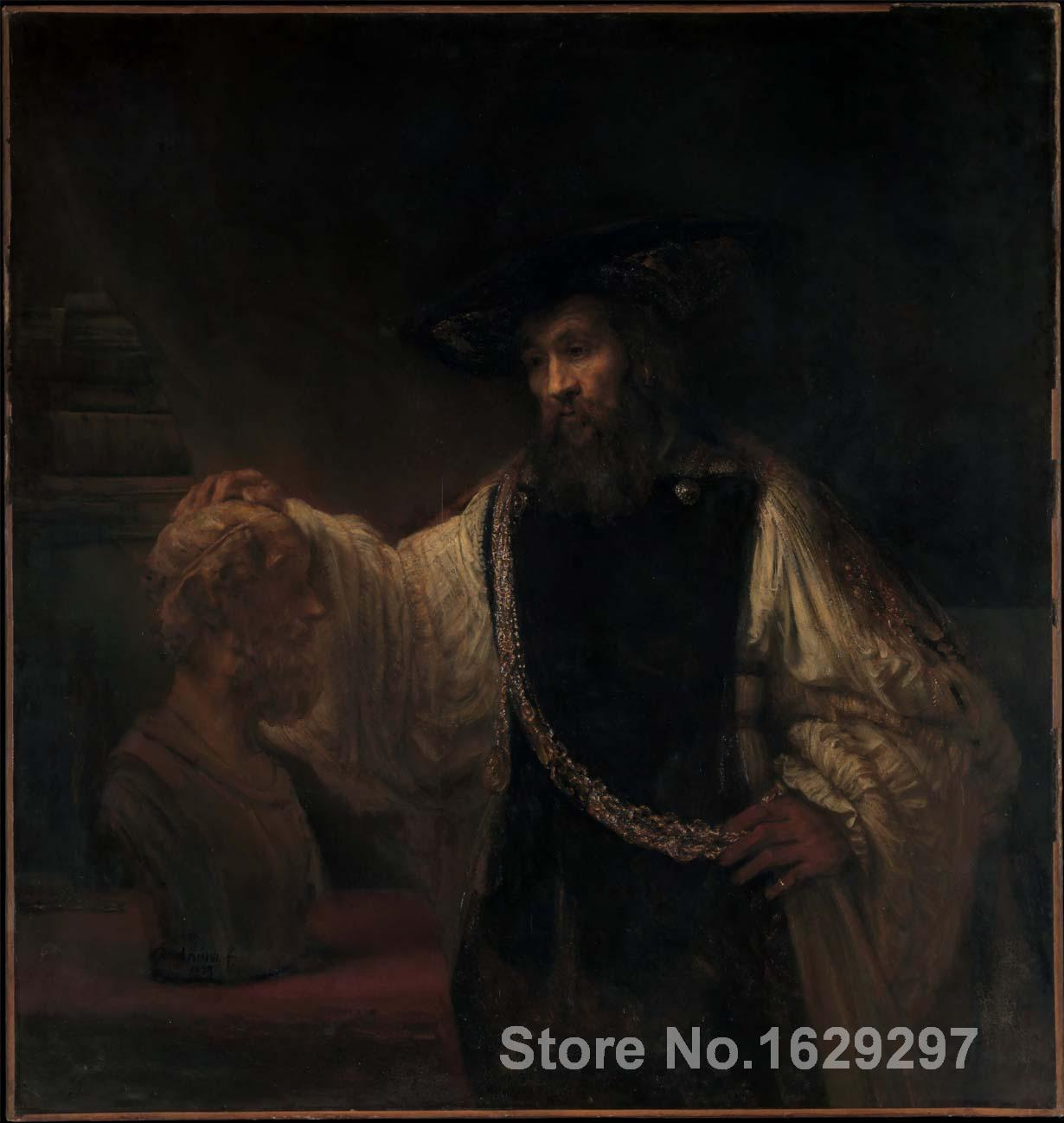 Pinturas de retrato Rembrandt van Rijns art reproduction Aristóteles con un busto de Homer pintado a mano de alta calidad