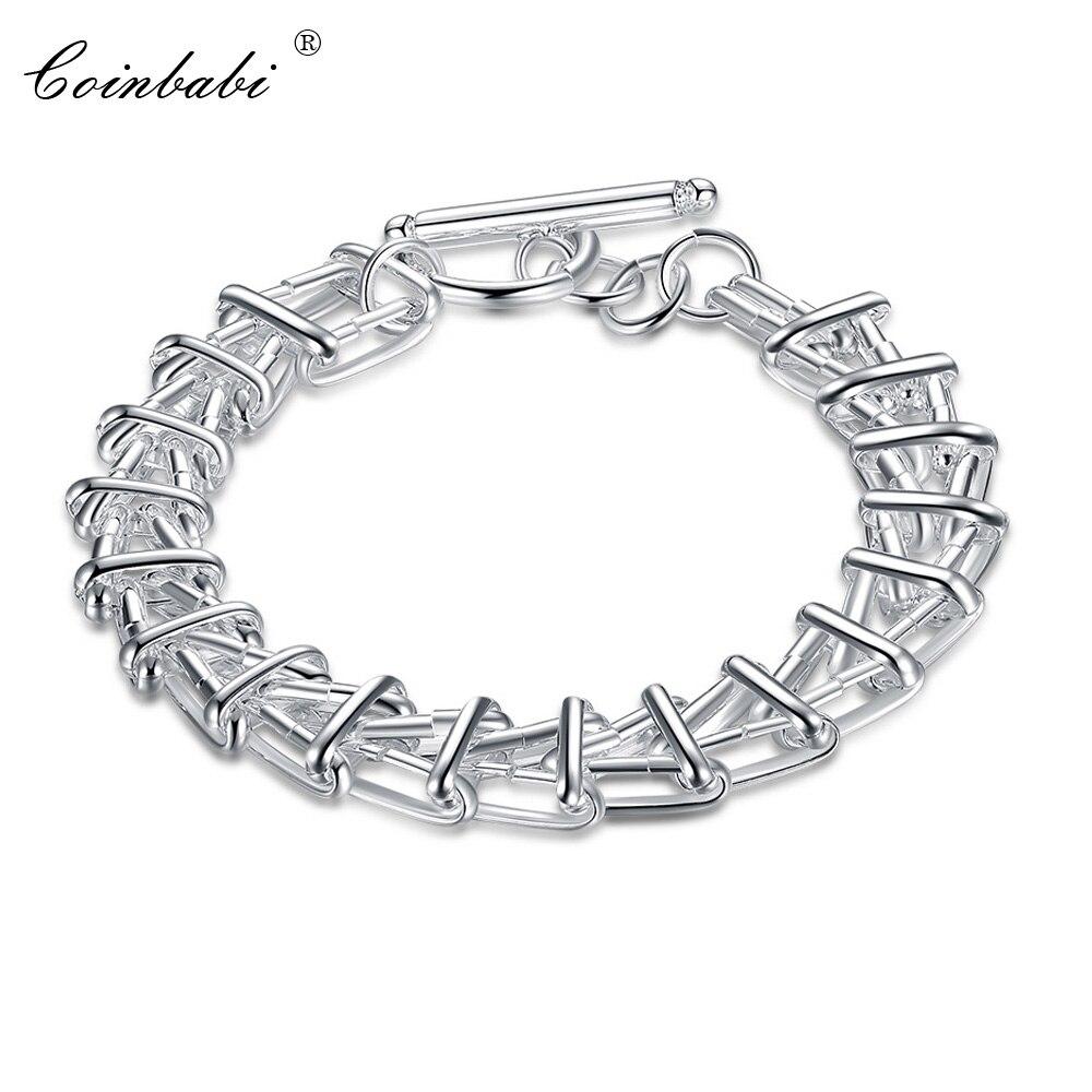 Pulsera geométrica, TIF CH TS Cleef de moda de Plata de Ley 925 para chicas, pulsera de plata con cierre de comercio geométrico