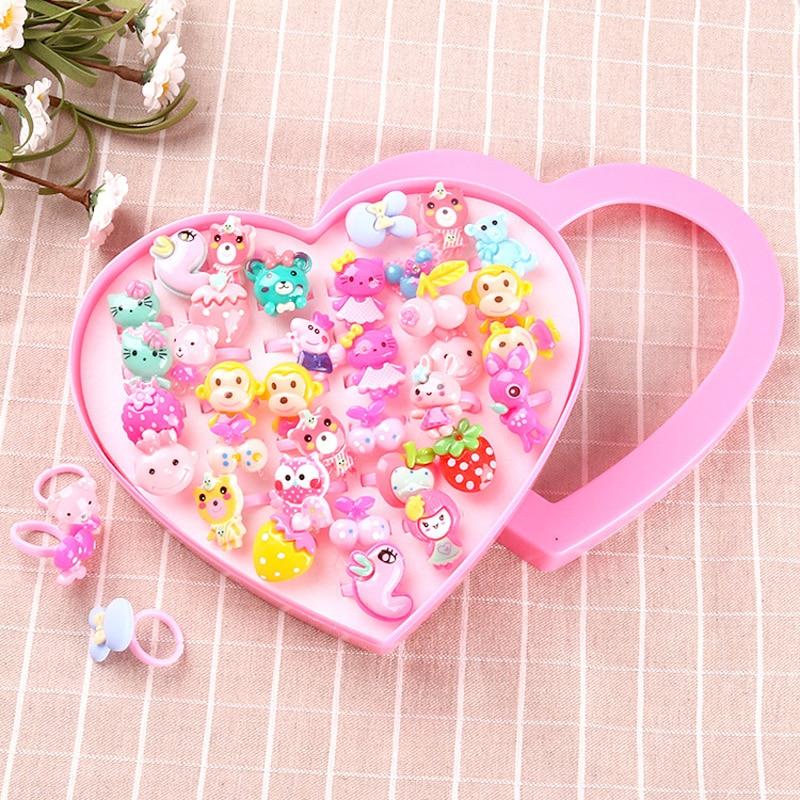 Juguetes para niños y niñas de Kawaii, Mini anillos de plástico de dibujos animados, juguetes de moda, juguetes de cumpleaños