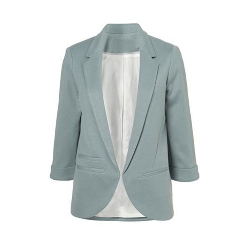 2015 Womens Candy Colors Slim Casual Blazer With Three Quarter Sleeve Notched  Jacket Coat Outwear Plus Size Solid Work