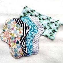 Serviettes de nuit en tissu LECY ECO LIFE 4 pièces avec un sac de rangement étanche, serviette hygiénique imprimée super douce et réutilisable