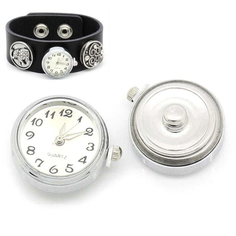 Reloj de pulsera con botón de presión a presión blanco tono plata joyería DIY encontrar 24x21,5mm 1 pieza