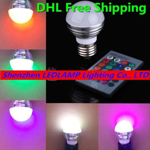 1000pcs/lot, DHL Free Shipping Remote Control Color Changeable RGB LED Bulb 3W E27 85-265V RGB LED Bulb Lighting lamp
