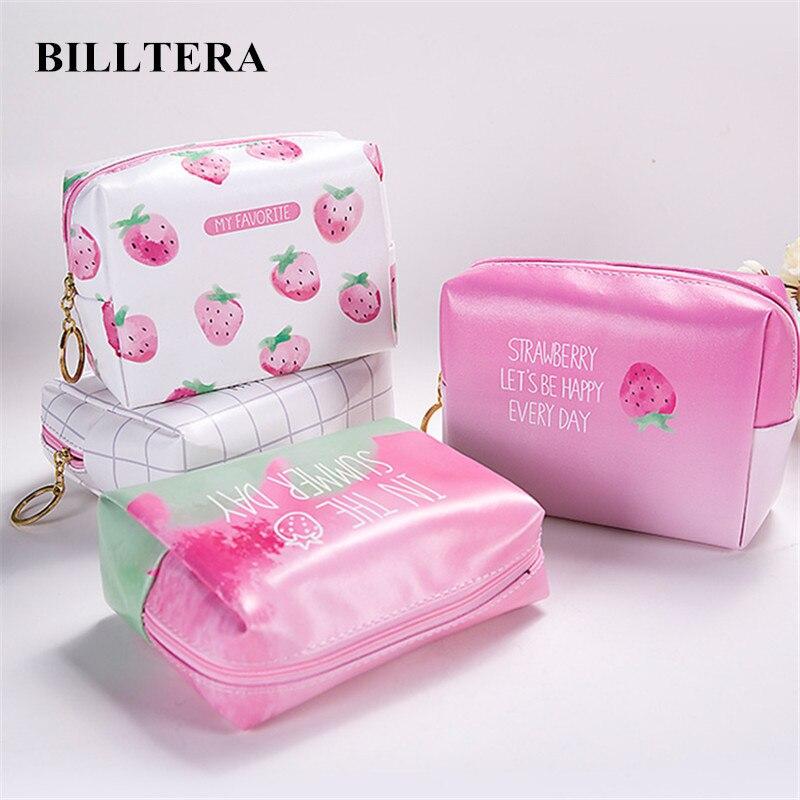 Billona bolsa de couro pu para cosméticos, bolsa organizadora para armazenamento de cosméticos, de morango, rosa