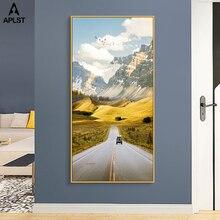 High Way Car Travel krajobraz nordycki drukuje malarstwo ze wzorem ośnieżonych gór plakaty na płótnie Home Decor salon korytarz ganek zdjęcia