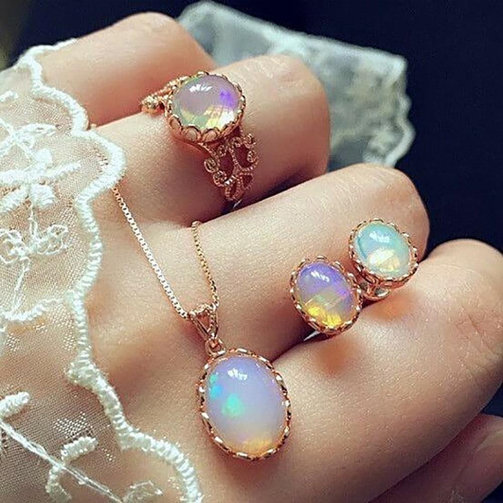 3 unids/set brillante Oval falso encanto collar pendientes anillo mujeres joyería India