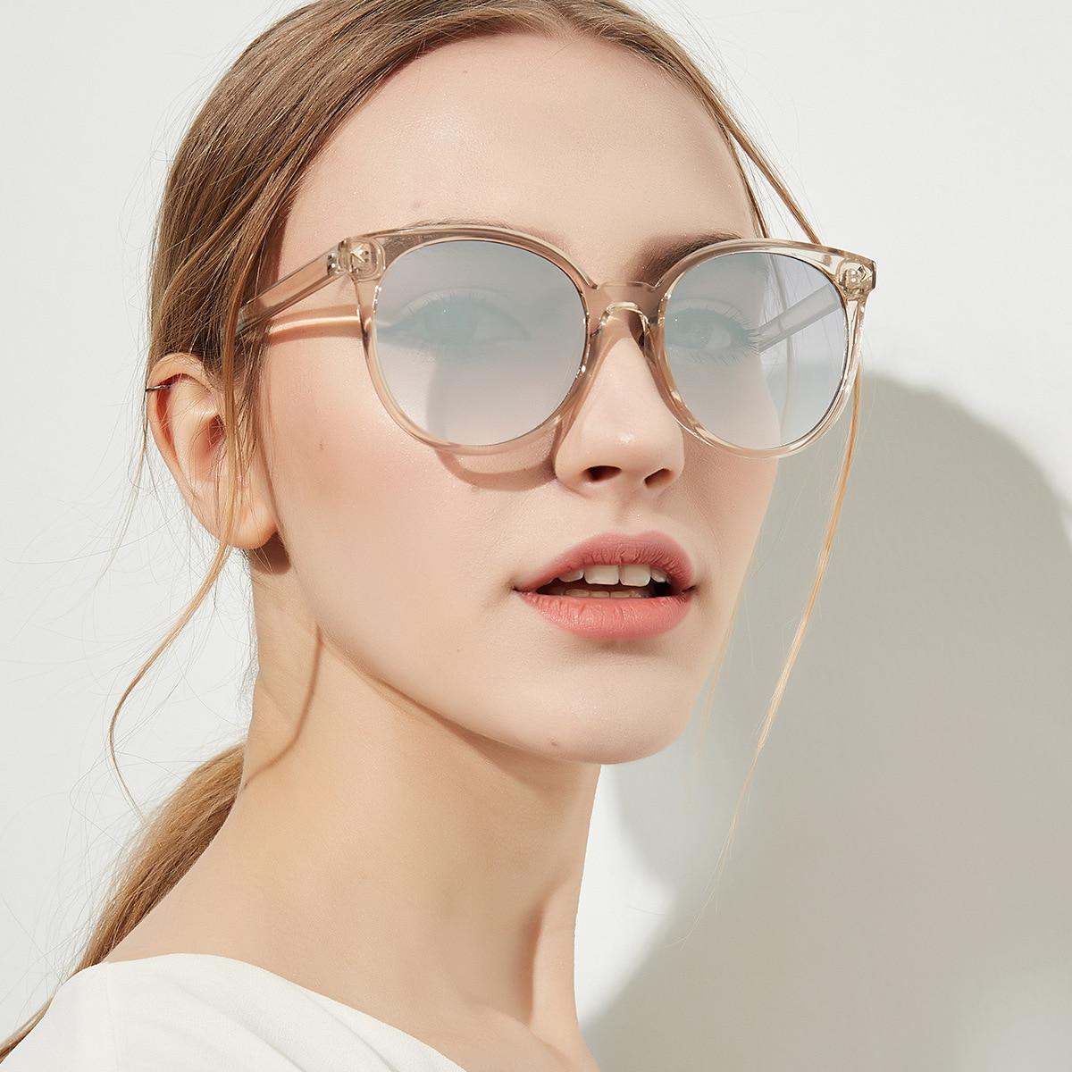 YOOSKE 90s Round Sunglasses Women Elegant Cat Eyes Sun glasses Ladies Vintage Black Coffee Color Eyewear Shades for Womens UV400