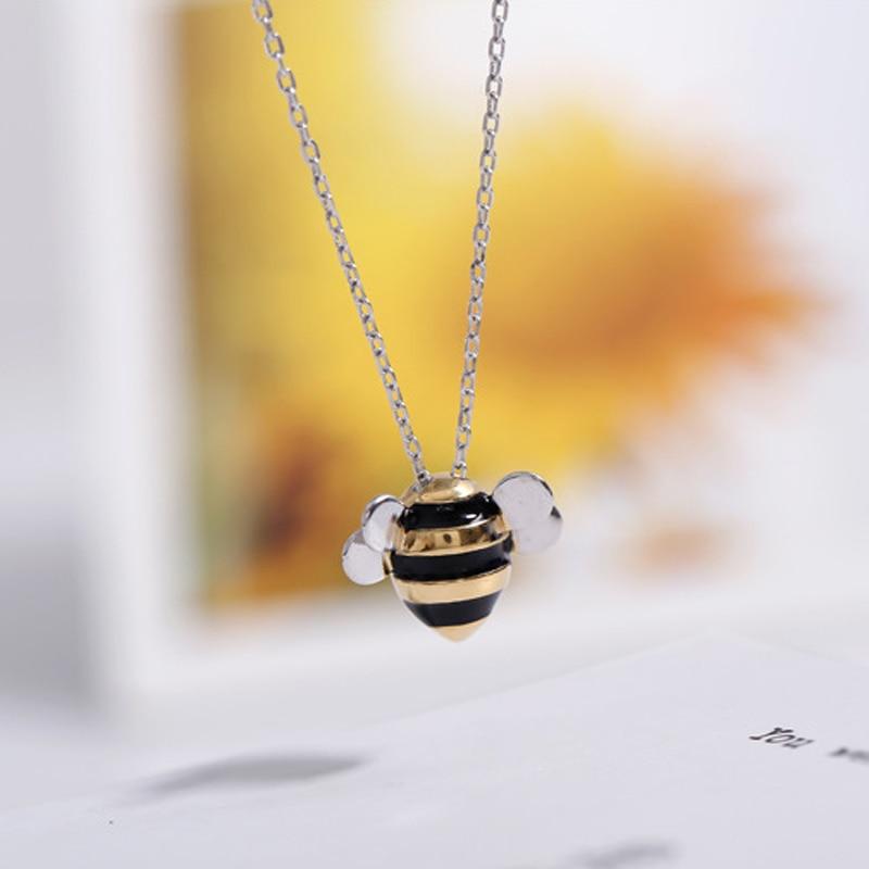 Bonito abelha 925 prata esterlina colares & pingentes prata esterlina gargantilha colar colar de jóias colar de plata