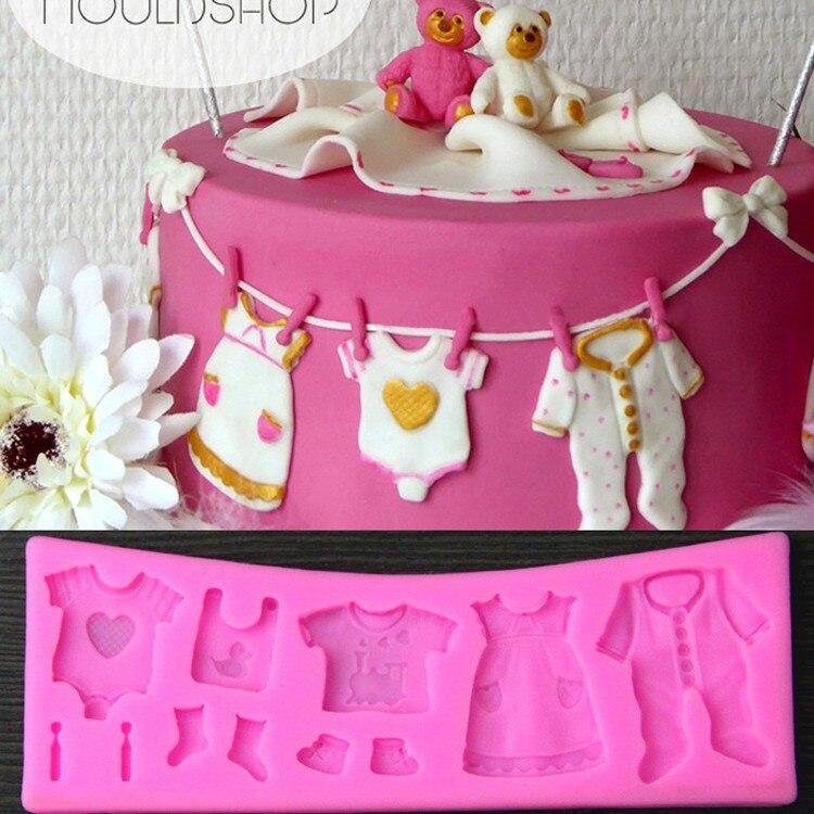 Luyou1 piezas Lovely Baby Clothes molde de Fondant de silicona DIY Cupcake Chocolate caramelo molde de Pastel de Navidad herramientas de decoración FM0
