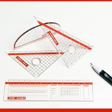 1 Uds R-9210 examen tarjeta con regla transportador triángulo conjunto de cuatro piezas tarjeta gobernante