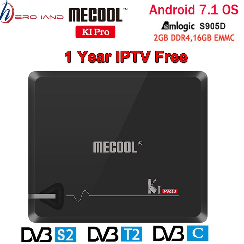 MECOOL KI PRO DVB Android 7,1 caja de TV inteligente DVB-T2/DVB-S2/DVB-C Amlogic S905D Quad 2GB + 16GB Set Top Box K1 PRO caja de añadir 1 año IPTV